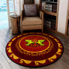 PEACE SIGN WITH COUPLE DOVES IN HIPPIE BACKGROUND ROUND CARPET