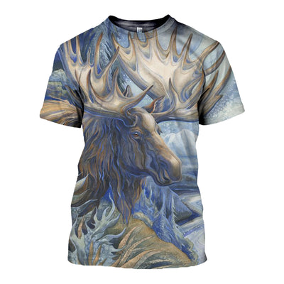 3D All Over Printed Moose T Shirt Hoodie 291210