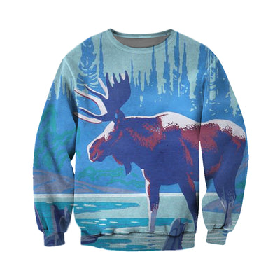 3D All Over Printed Moose T Shirt Hoodie 291215
