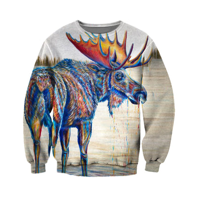 3D All Over Printed Moose T Shirt Hoodie 291217