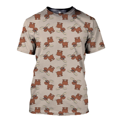 3D All Over Printed Moose T Shirt Hoodie 291218