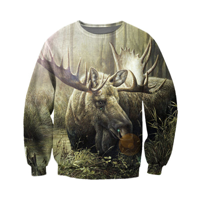 3D All Over Printed Moose T Shirt Hoodie 29123
