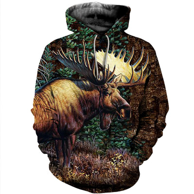 3D All Over Printed Moose T Shirt Hoodie 29124