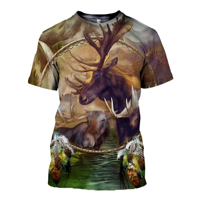 3D All Over Printed Moose T Shirt Hoodie 29127