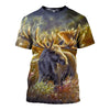 3D All Over Printed Moose T Shirt Hoodie 29128
