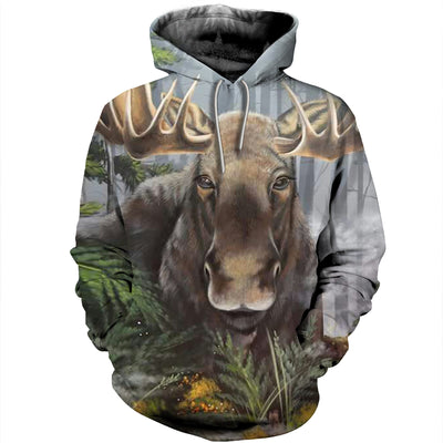 3D All Over Printed Moose T Shirt Hoodie 29129