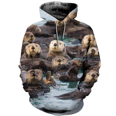 3D All Over Printed Otter T Shirt Hoodie 141010