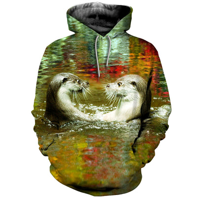 3D All Over Printed Otter T Shirt Hoodie 141013