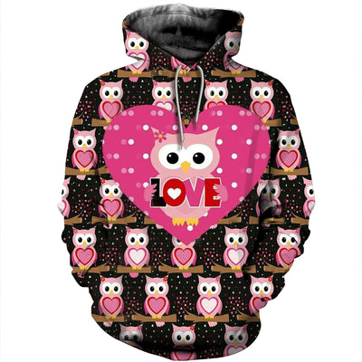 3D All Over Printed Owl T Shirt Hoodie 13122