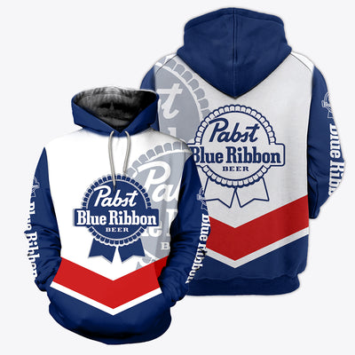 3D ALL OVER PRINTED PABST BLUE RIBBON HOODIE
