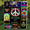 PEACE & LOVE QUOTE IN MESSY WONDERFUL PUZZLES HIPPIE PREMIUM QUILT