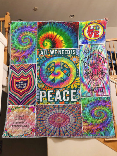 WONDERFUL ALL WE NEED IS PEACE HIPPIE PREMIUM QUILT