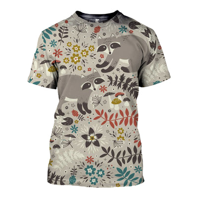 3D All Over Printed Raccoon T Shirt Hoodie 11126