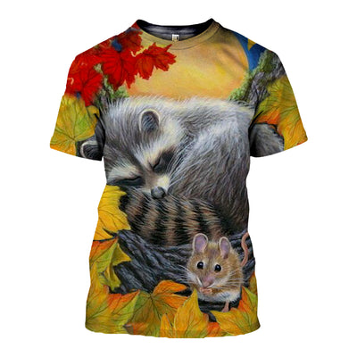 3D All Over Printed Raccoon T Shirt Hoodie 12121