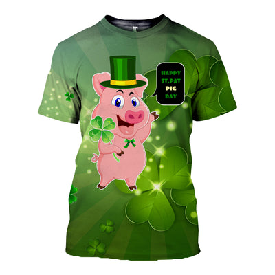 3D All Over Printed Pig Patrick Day T Shirt Hoodie