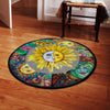 Combination of Wonderful Sunflower & The Sun Hippie Round Carpet