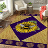 THE SUNFLOWER AND A BEE IN RHOMBUS PATTERN HIPPIE AREA RUG