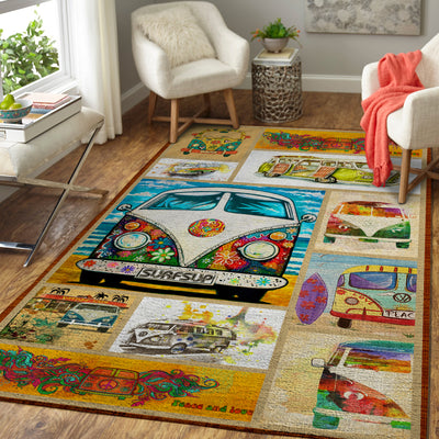 PUZZLES OF COLOURFUL BUSES HIPPIE AREA RUG