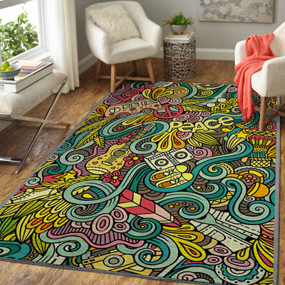 PEACE MESSY BUT GORGEOUS PATTERN HIPPIE AREA RUG