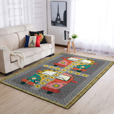 COLOURFUL HIPPIE VAN AND SUNFLOWERS AREA RUG
