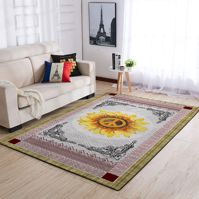THE SUNFLOWER AND PEACE SIGN IN MANDALA PATTERN HIPPIE AREA RUG