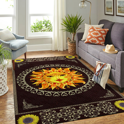 FABULOUS SUN WITH SUNFLOWER PATTERN HIPPIE AREA RUG