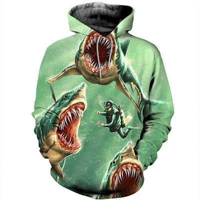 3D All Over Printed Shark T Shirt Hoodie 181211