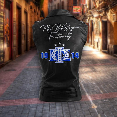 Phi Beta Sigma Leather Punk Zipper Sleeveless Vests Jacket 29720201