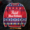 3D ALL OVER PRINT KNITTING PATTERN PABST BLUE RIBBON BEER UGLY CHRISTMAS SWEATER