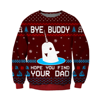 Bye Buddy KNITTING PATTERN 3D PRINT UGLY CHRISTMAS SWEATER