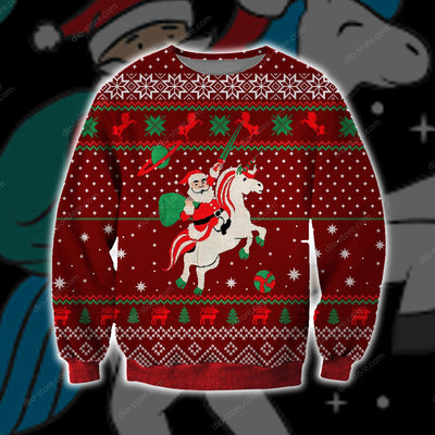 Santa Unicorn KNITTING PATTERN 3D PRINT UGLY CHRISTMAS SWEATER