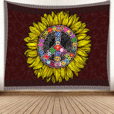 COLOURFUL PEACE SIGN IN GORGEOUS HIPPIE SUNFLOWER TAPESTRY
