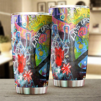 HIPPIE PEACE LIVE UP SIDE DOWN TUMBLER