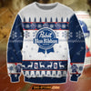 3D ALL OVER PRINT KNITTING PATTERN PABST BLUE RIBBON BEER UGLY CHRISTMAS SWEATSHIRT