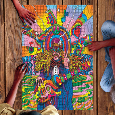 OLD HIPPIE MAN IN HIS OWN WONDERFUL WORLD Hippie Puzzle 23062020