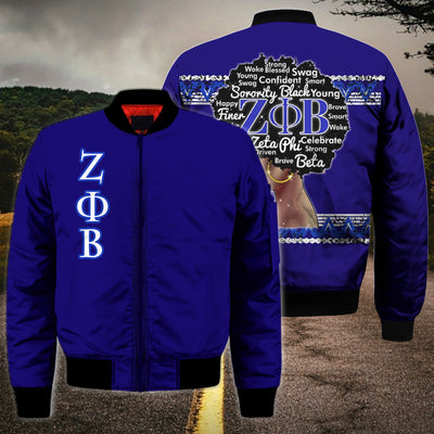 3D ALL OVER ZETA PHI BETA BOMBER JACKET