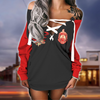 Delta Sigma Theta lace up criss cross V-neck sweater dress 01