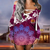 Papua New Guinea lace up criss cross V-neck sweater dress