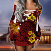 Papua New Guinea lace up criss cross V-neck sweater dress 2