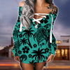 Turtle lace up criss cross V-neck sweater dress 2