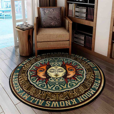 THE SUN WATCHES WHAT I DO BUT THE MOON KNOWS ALL MY SECRETS HIPPIE ROUND CARPET