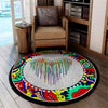 COLOURFUL PEACE SIGN HIPPIE ROUND CARPET