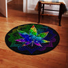 A CANNABIS IN THE MANDALA BACKGROUND HIPPIE ROUND CARPET