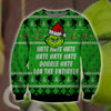 Grinch hate hate hate KNITTING PATTERN 3D PRINT UGLY CHRISTMAS SWEATER