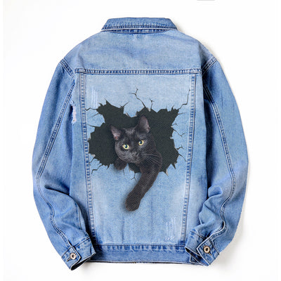 Black cat DENIM JACKET