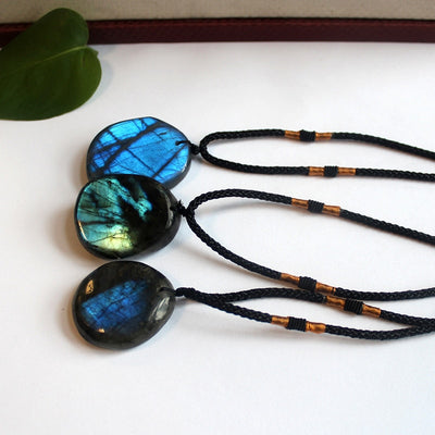 Natural Irregular Labradorite Moonstone Stone Pendants & Necklaces