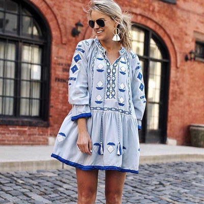 HIPPIE BOHEMIAN FLORAL ETHNIC VINTAGE SHORT DRESS