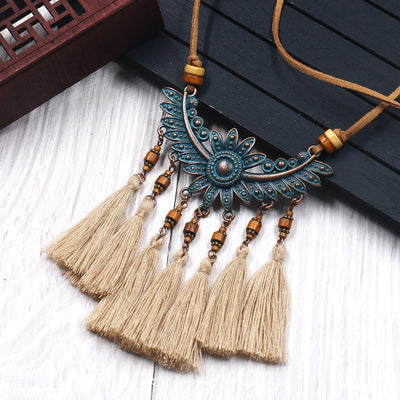 Ethnic Style Vintage Leather Rope Long Necklaces Women Handmade