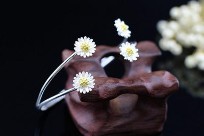 Sterling Daisy Flower Cuff Bracelet for Women