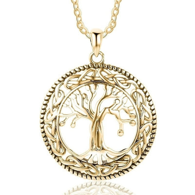 Classic Vintage Tree Of Life Pendants Necklace Fashion Women gold Silver